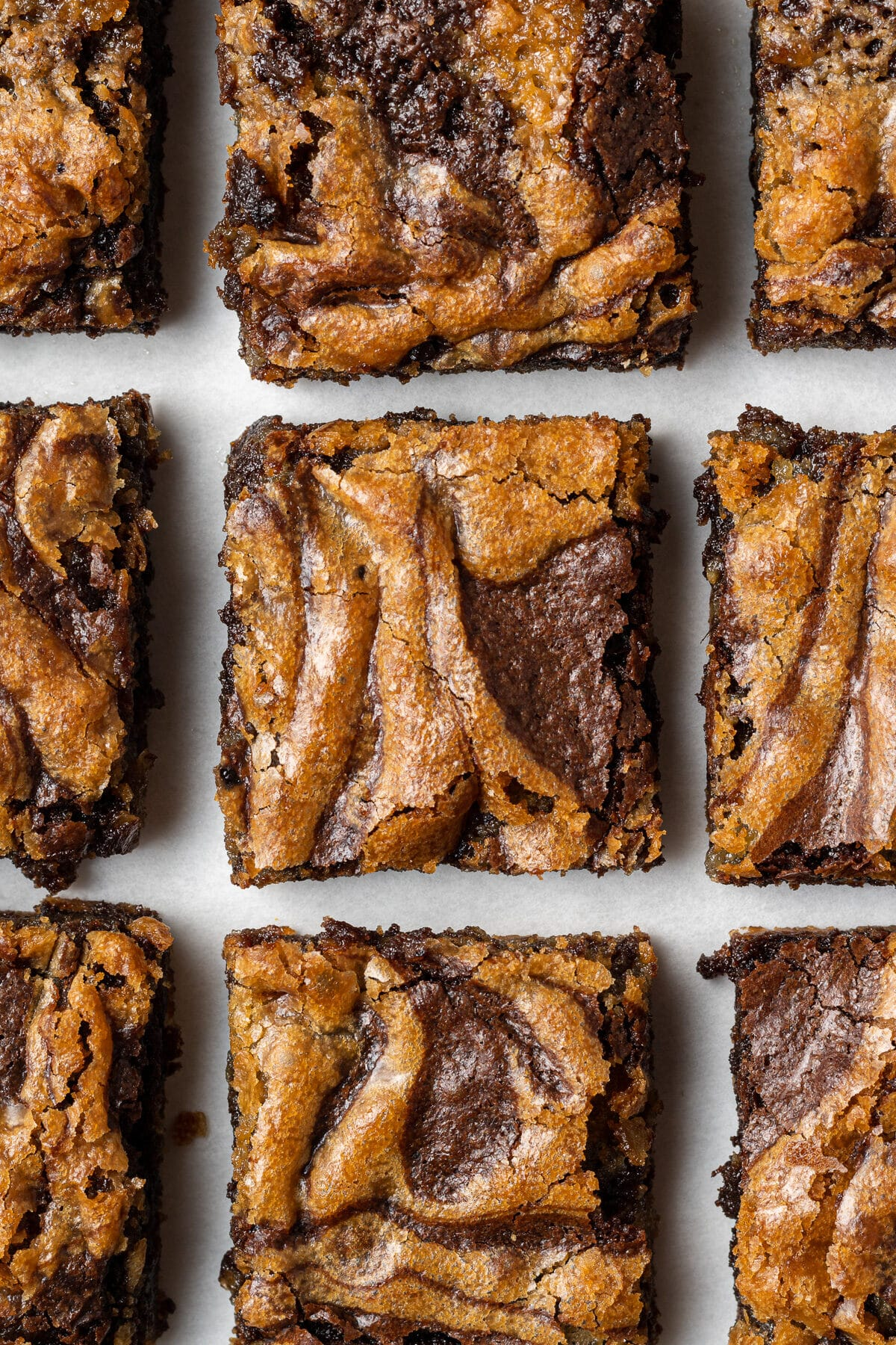 blondie brownies sliced and shot from above