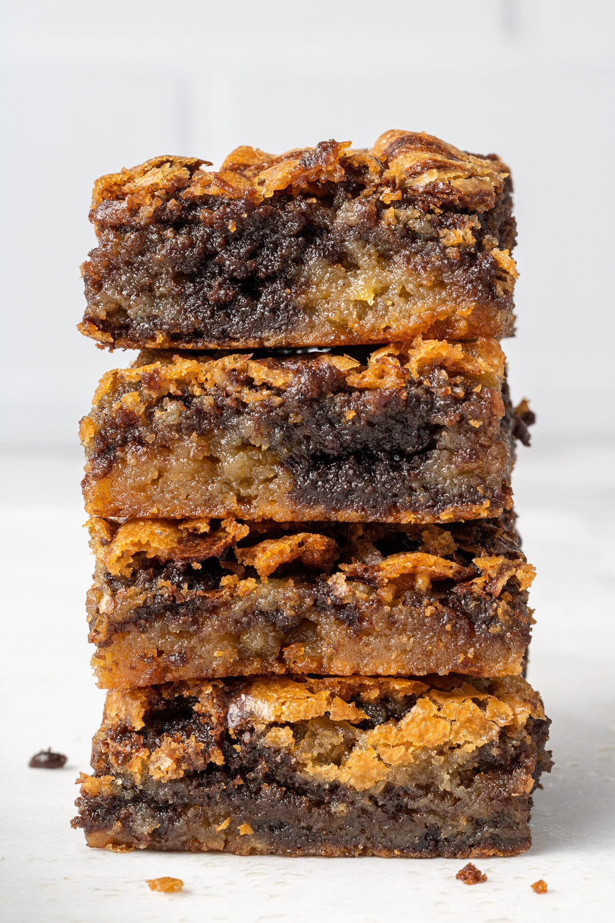 four brownie blondies stacked on top of each other