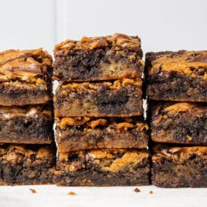 brownie blondies stacked on top of each other featured image