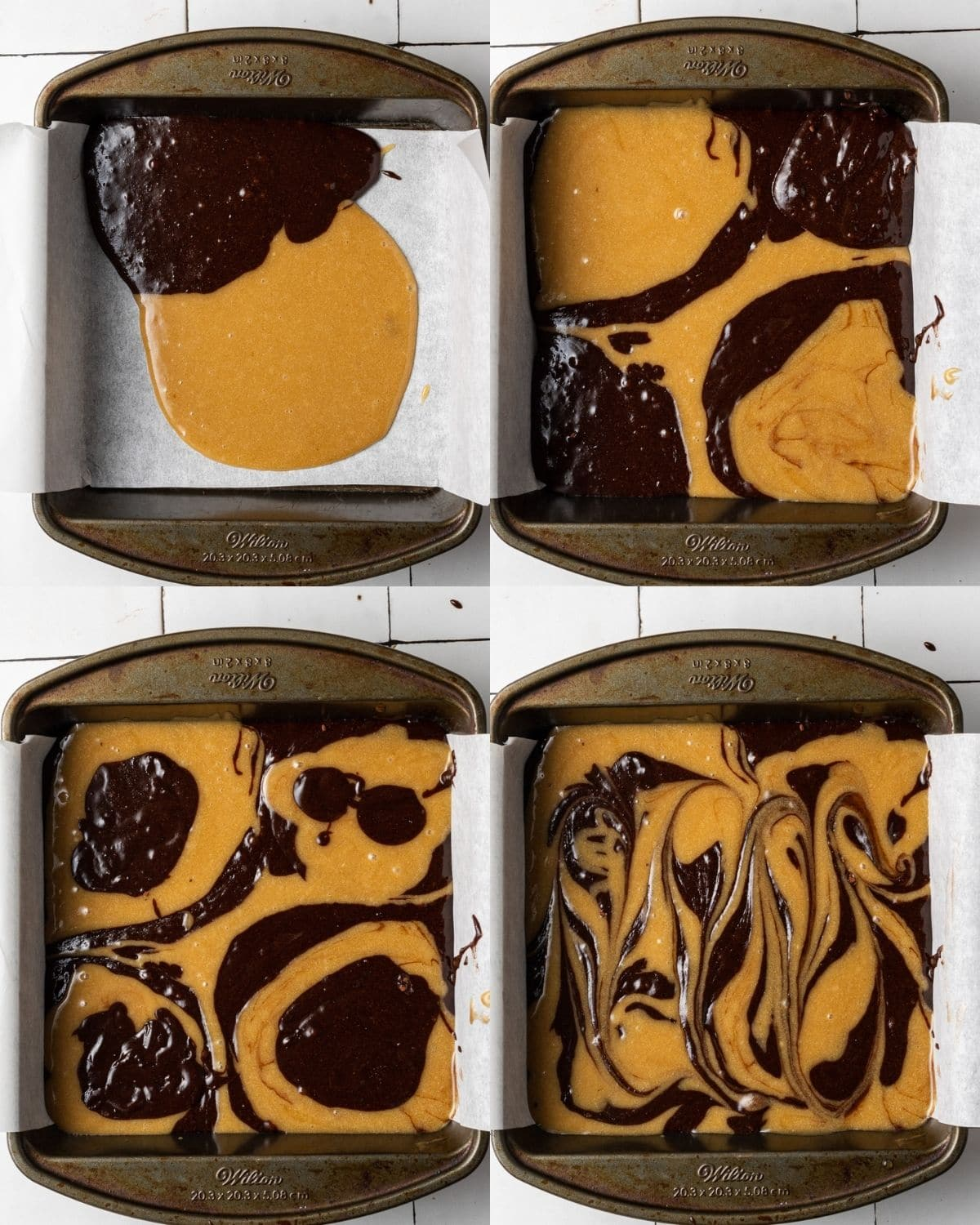 process showing how to make brownie blondies