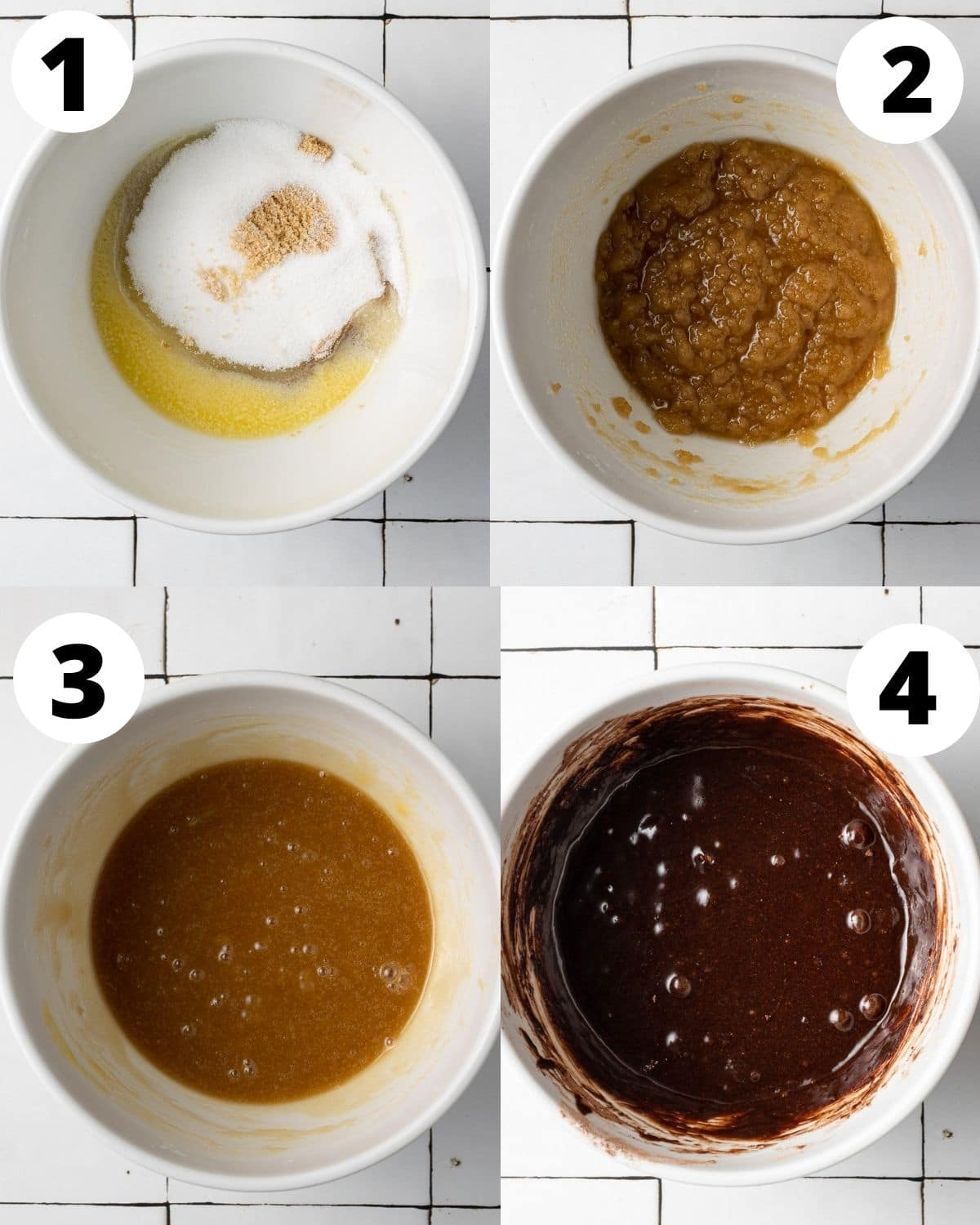 step by step process for how to make brownie batter for brownie blondies