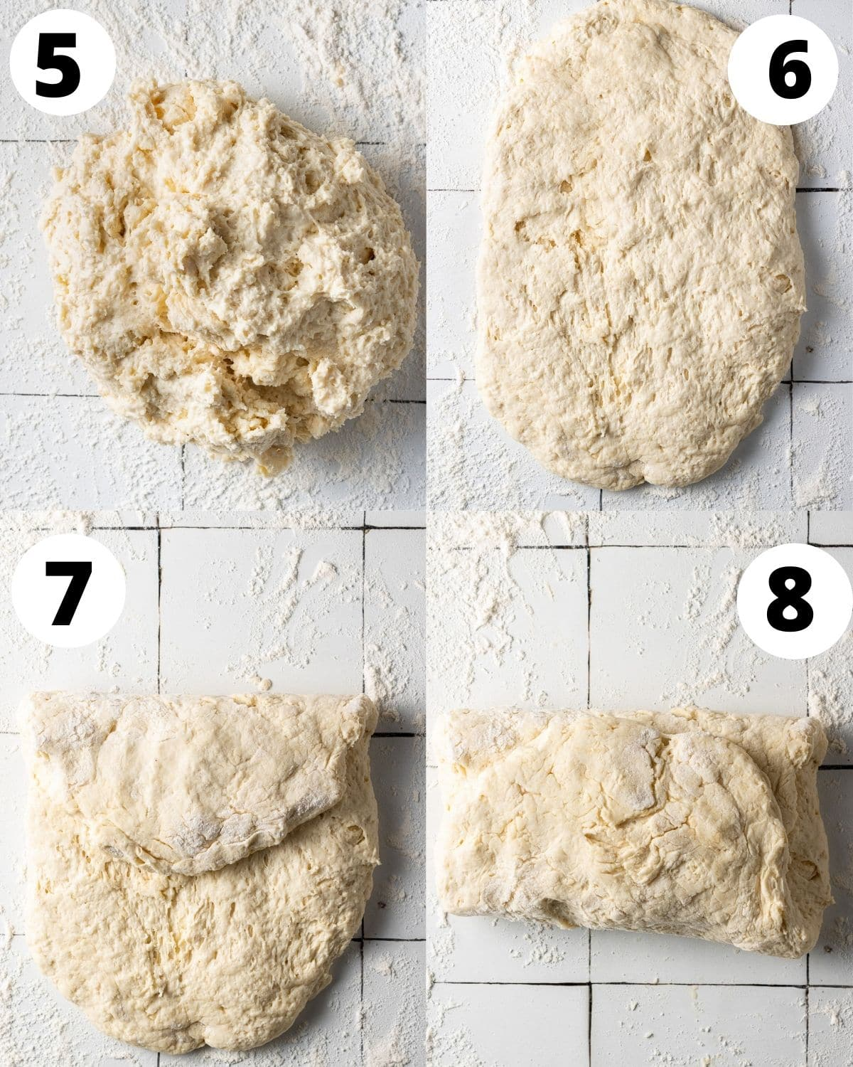 step by step showing how to fold dairy free biscuit dough