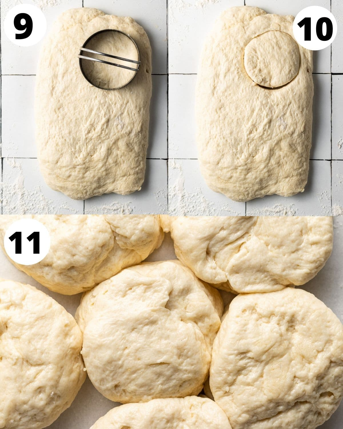 step by step process showing how to cut out dairy free biscuit dough