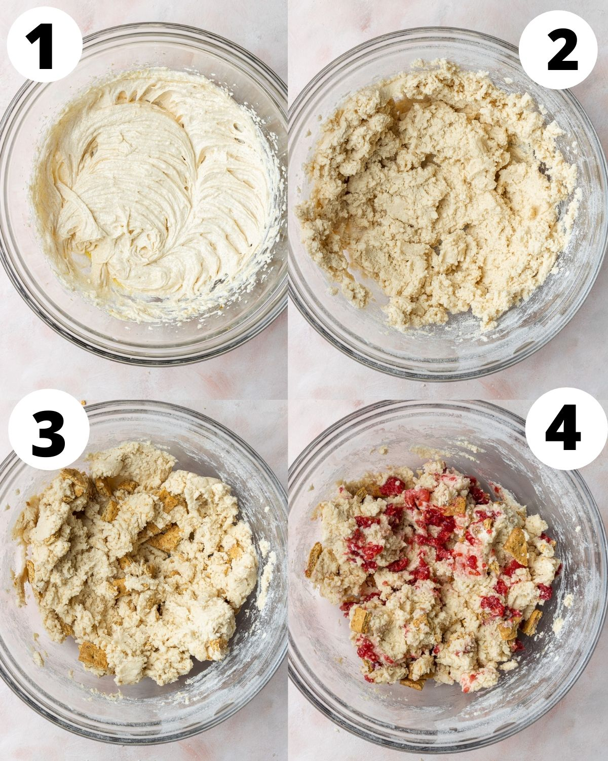 Step by Step photos showing how to make raspberry cheesecake cookies