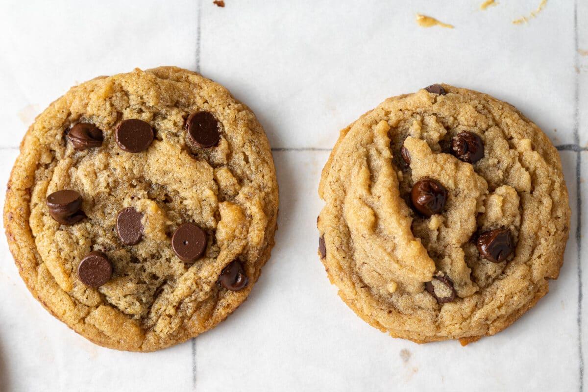 two vegan peanut butter cookies side by side
