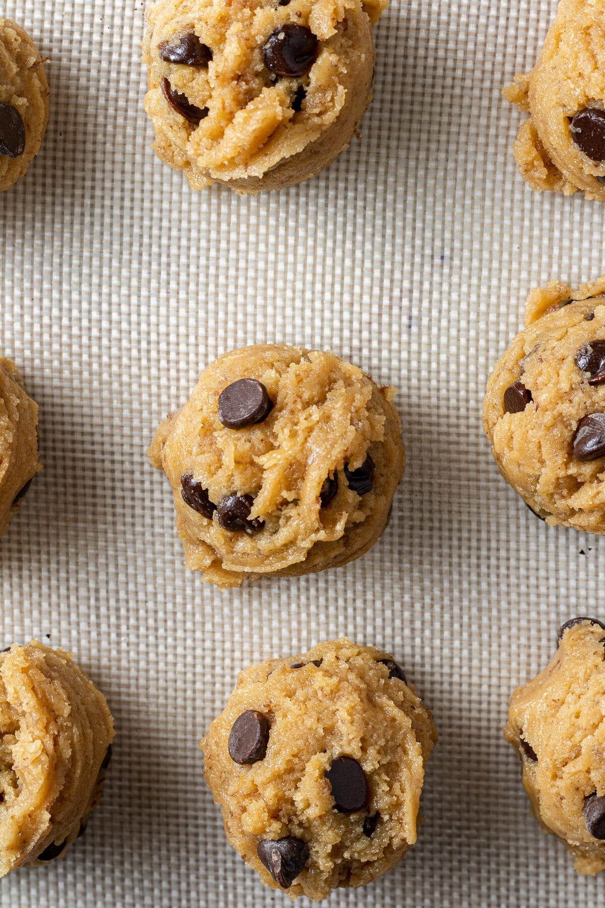 vegan peanut butter cookies dough on baking sheet
