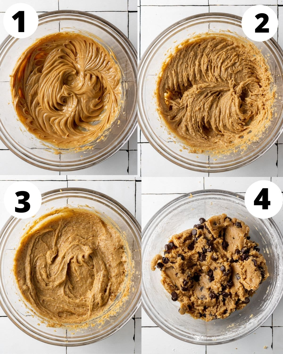 step by step showing how to make vegan peanut butter chocolate chip cookies