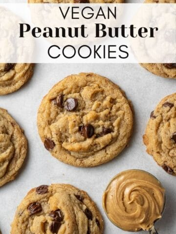 vegan peanut butter cookies with text overlay