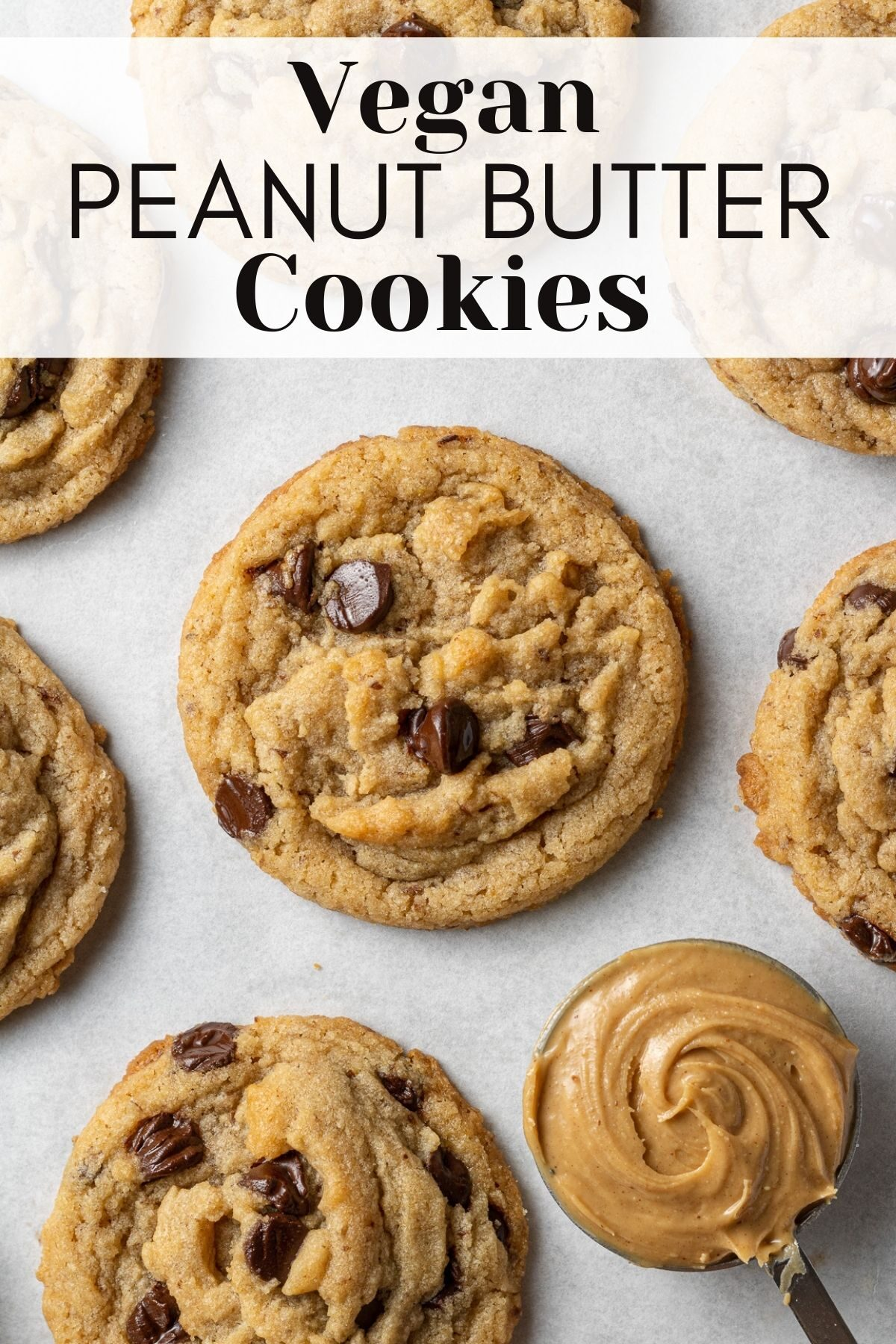 vegan peanut butter chocolate chip cookies on parchment with text overlay