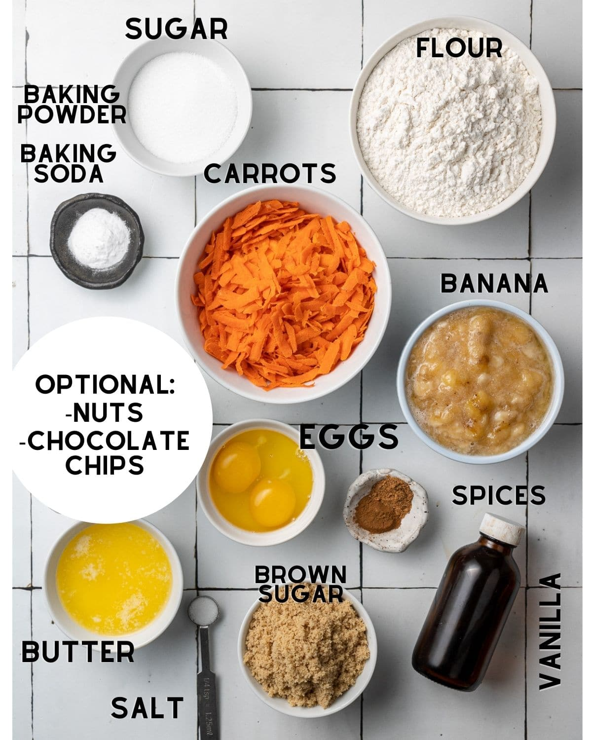 ingredients needed to make banana carrot muffins in bowls with labels