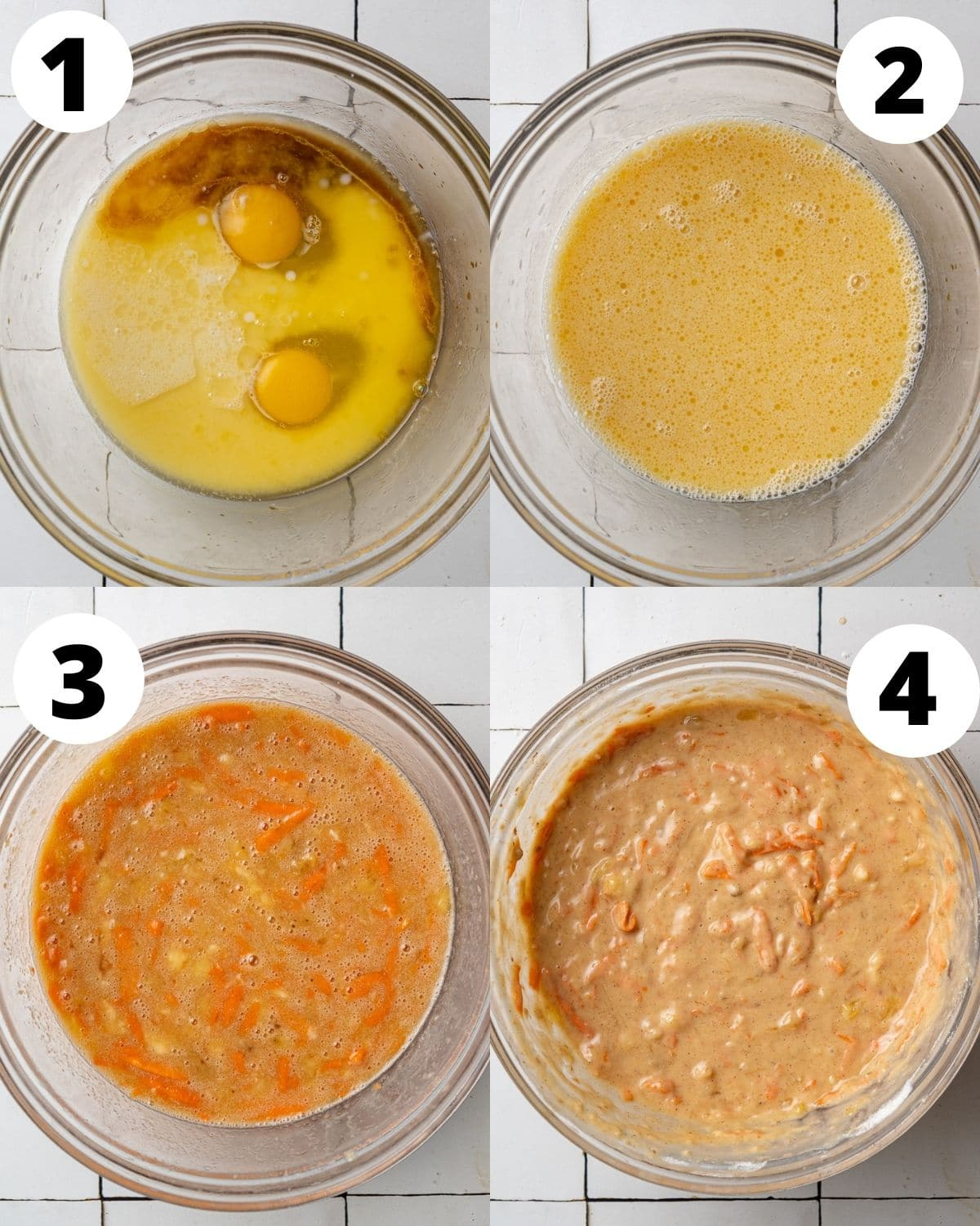 step by step collage showing the process of making banana carrot muffins