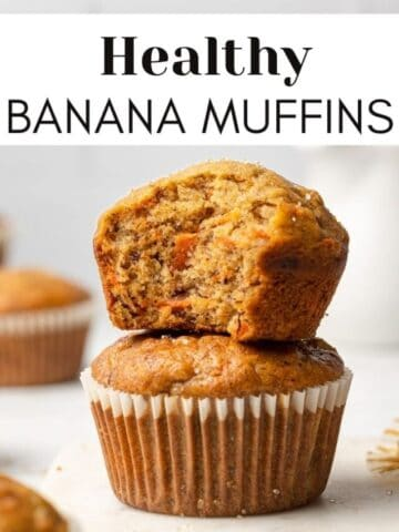 healthy banana muffins stacked on each other with text overlay for web story