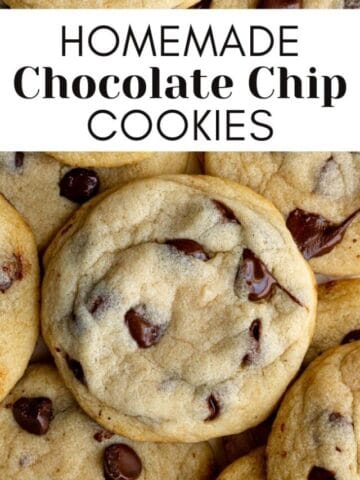 homemade chocolate chip cookies in a pile with text overlay for web story