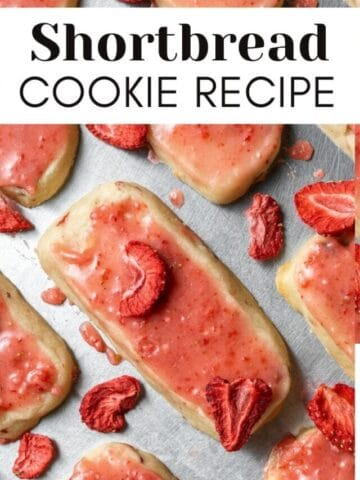 short bread cookies on a pan with text over lay for web story