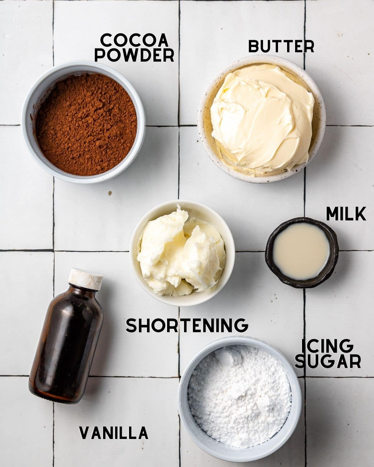 ingredients to make dairy free chocolate buttercream in bowls with labels