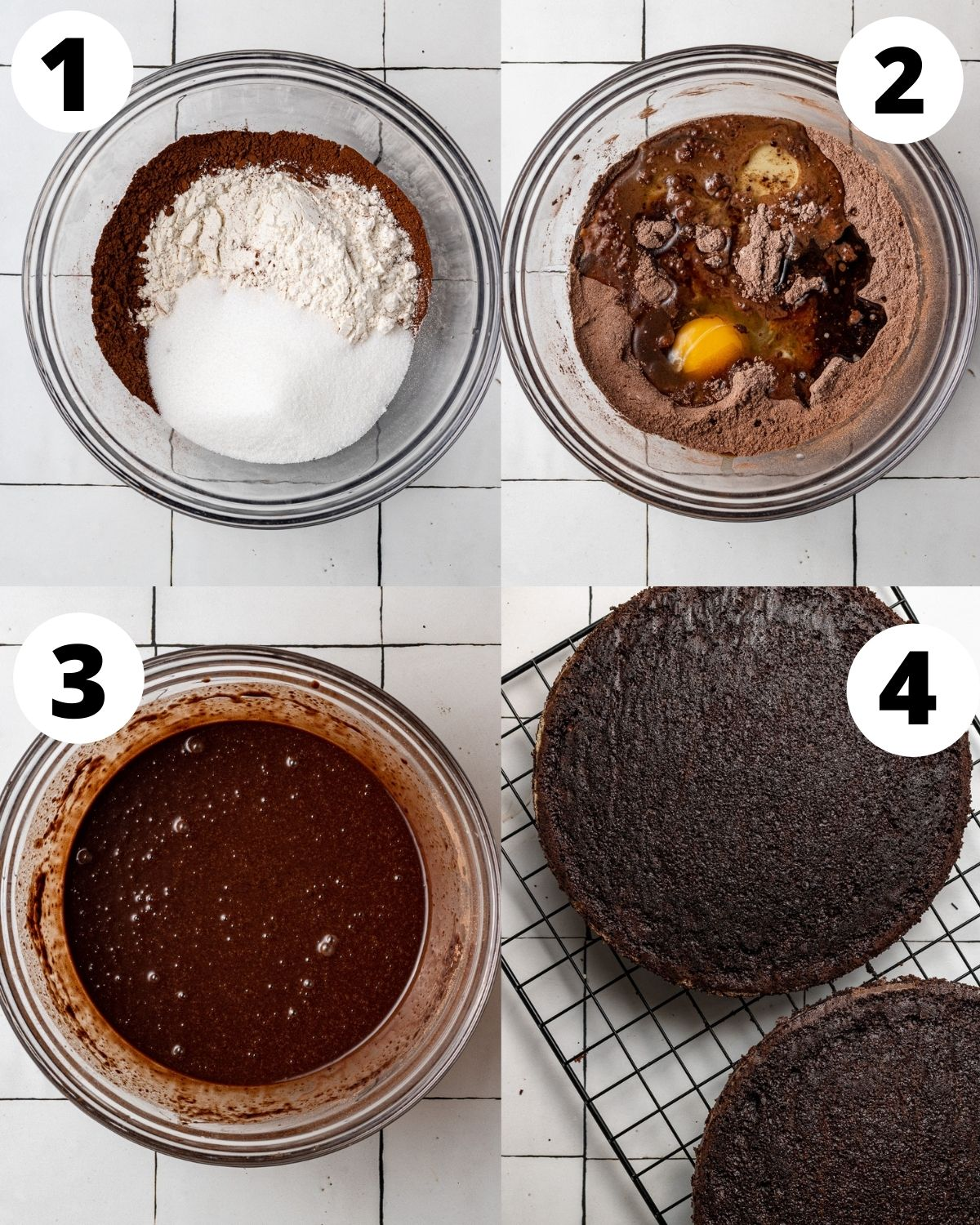 step by step instructions showing how to make dairy free chocolate cake