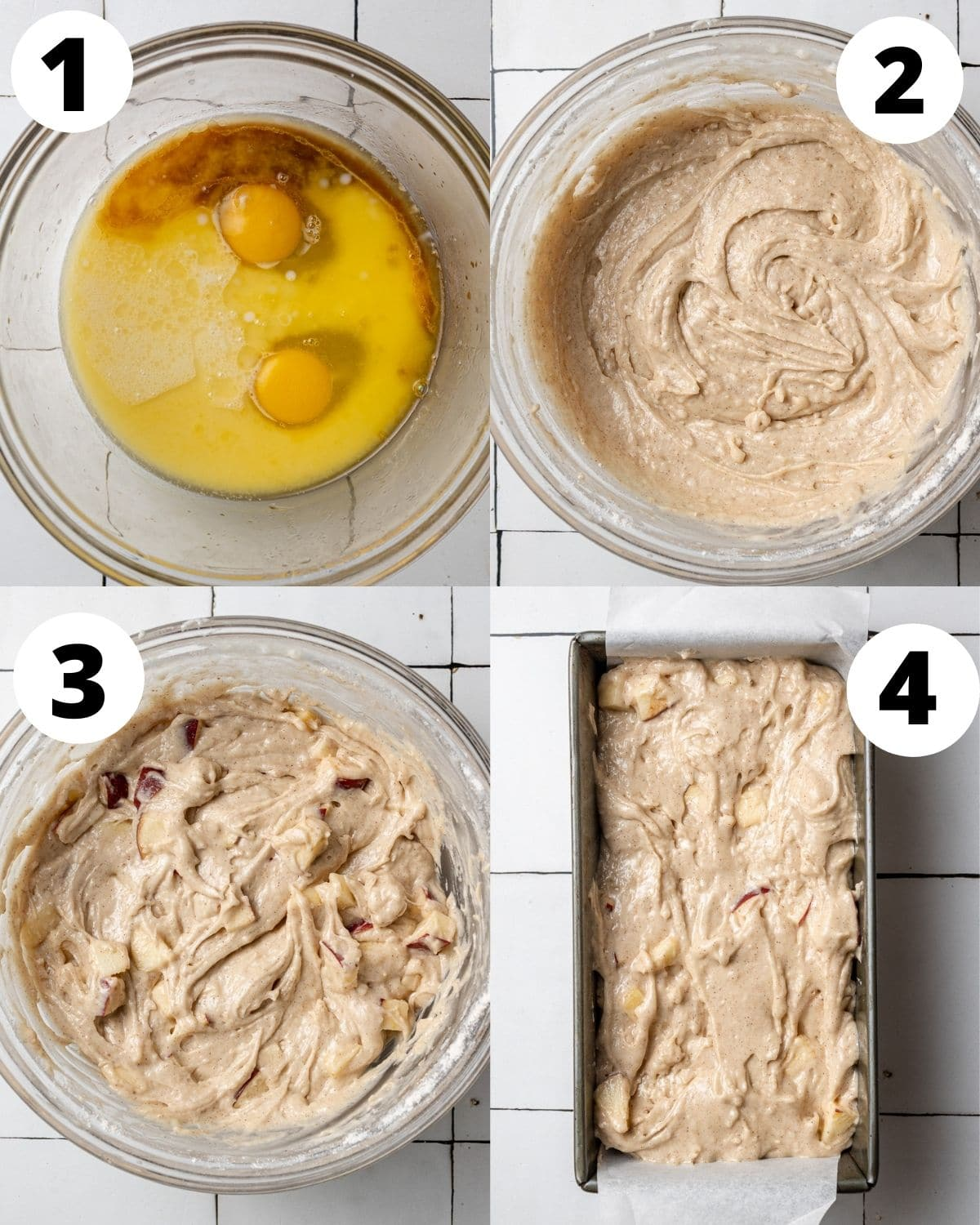 step by step process showing how to make apple cake loaf