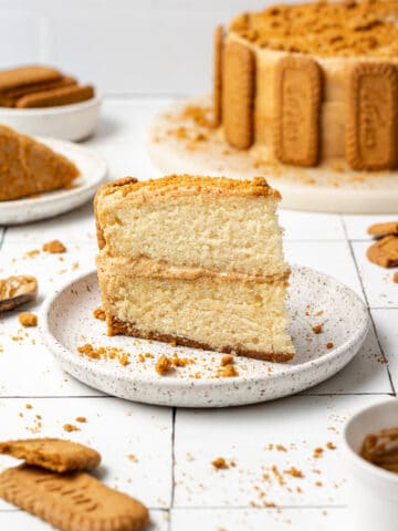 biscoff cake sliced on a plate with whole cake in the background and biscoff cookies scattered around it