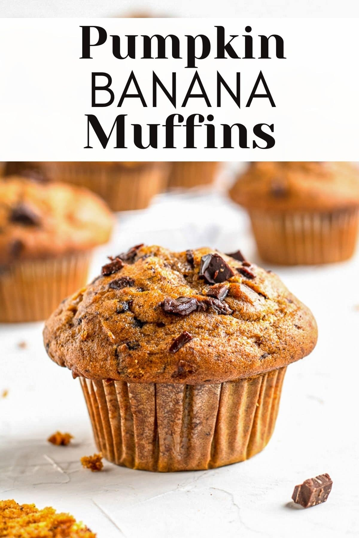 pumpkin banana muffin with text overlay for pinterest
