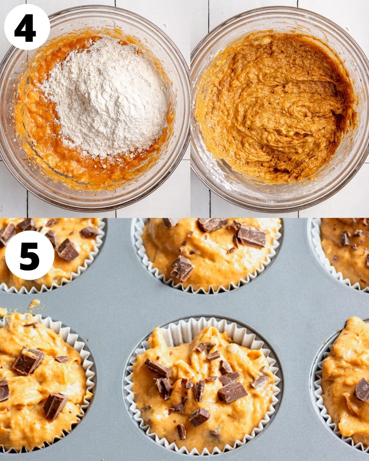 more step by step instructions showing how to make pumpkin banana muffins