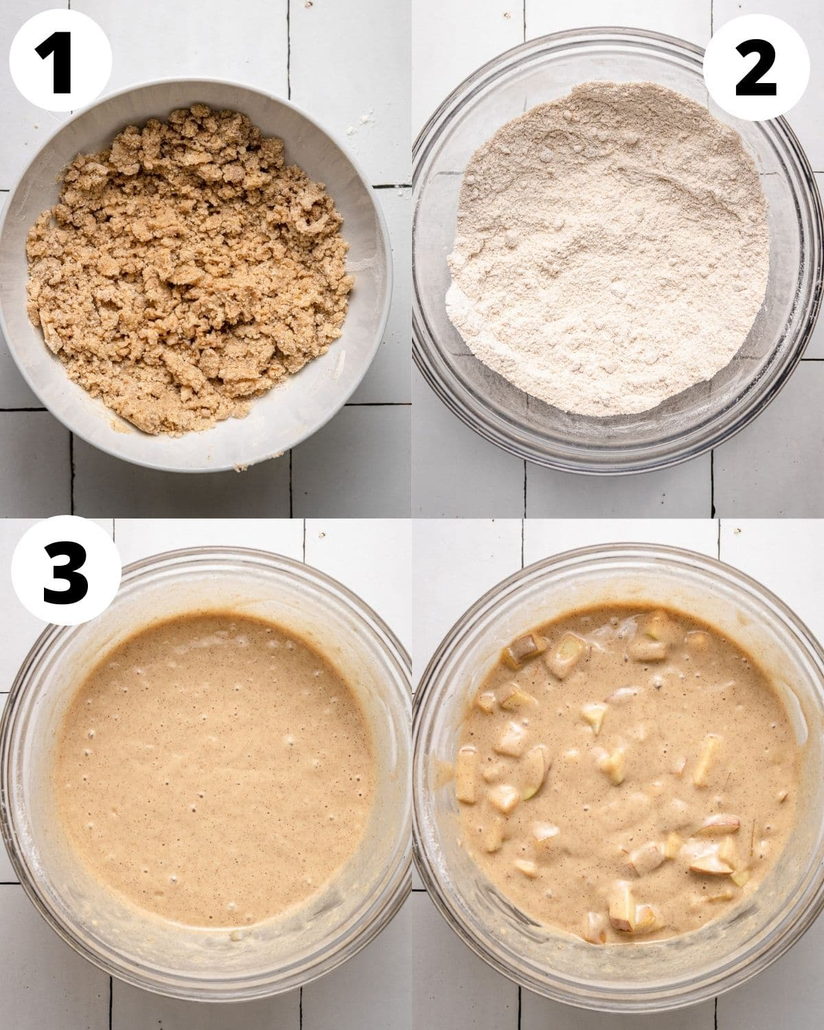instructions showing how to make vegan apple cake