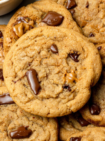 biscoff butter cookies on a baking sheet