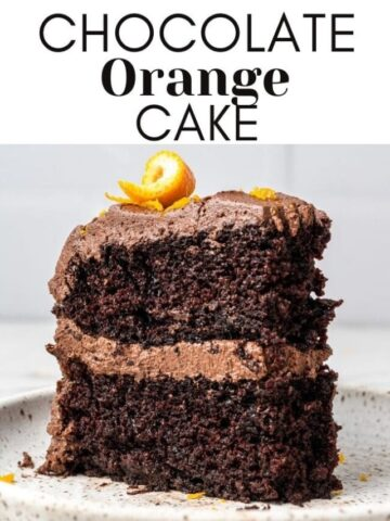 slice of chocolate orange cake on a plate with text overlay