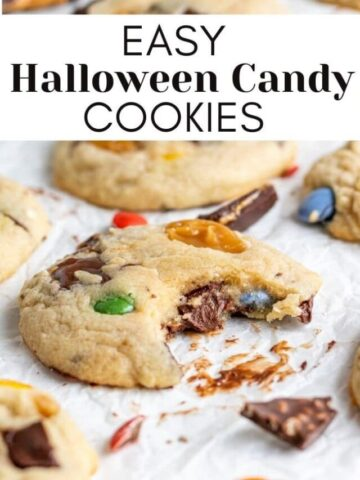 halloween candy cookie with a bite out of it with text overlay