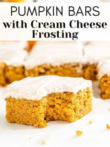 pumpkin bars with cream cheese frosting sliced and a bite taken out of it, with text overlay