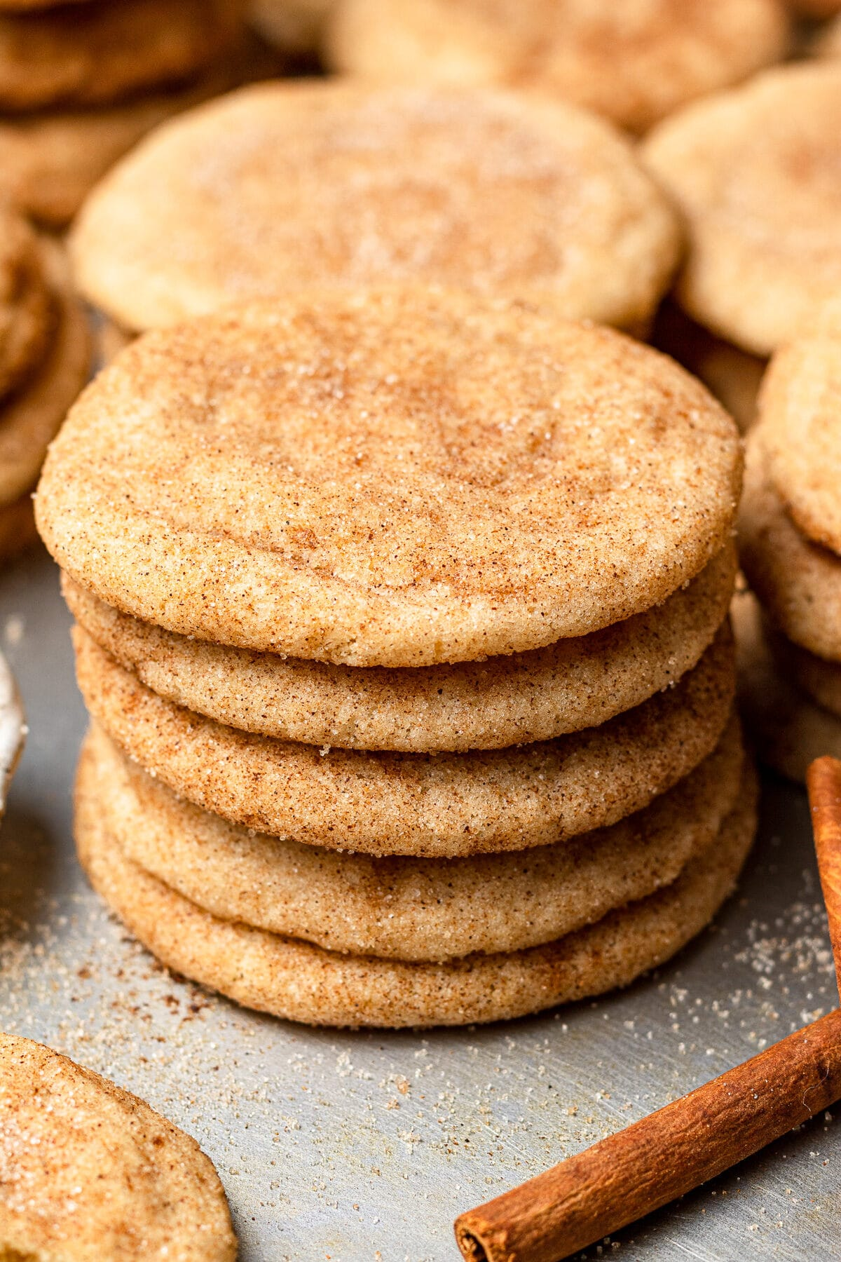 snickerdoodles stacked on top of each other