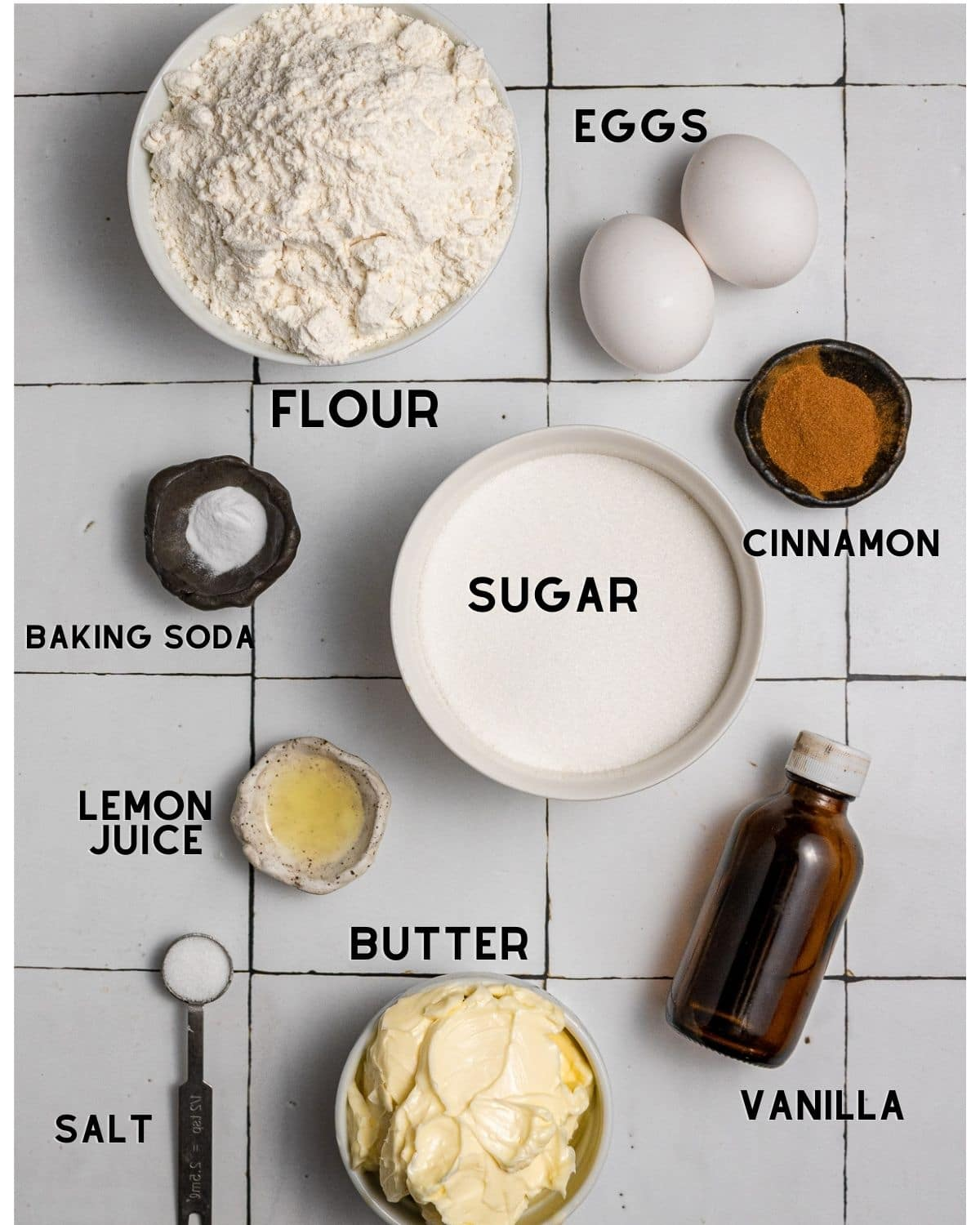 ingredients in bowls needed to make snickerdoodle cookies without cream of tartar