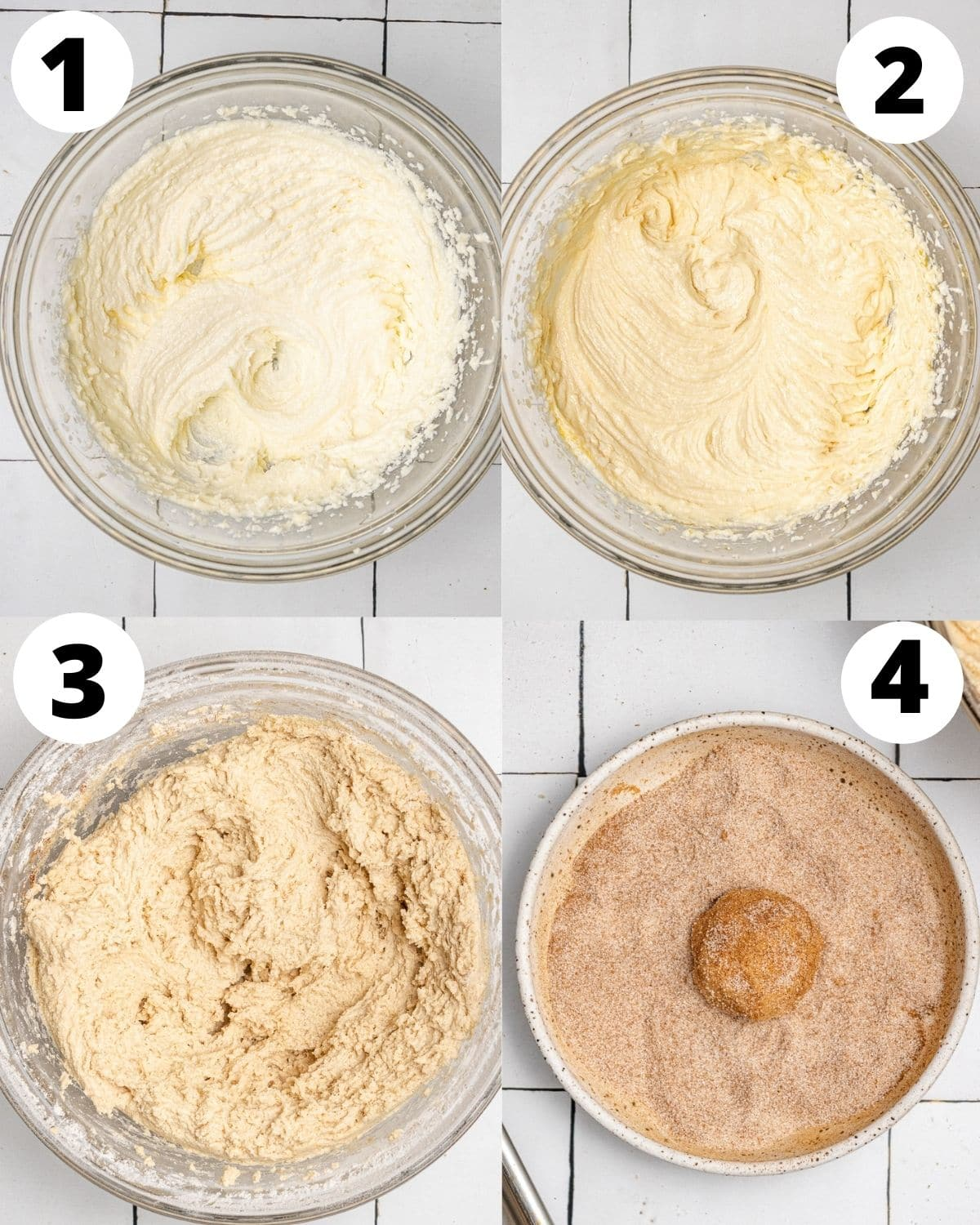 step by step process showing how to make snickerdoodle cookies